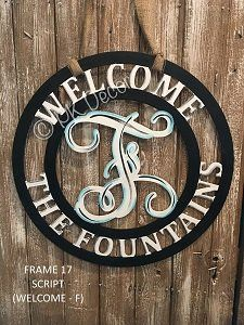 "Monogram Door Hanger - Customize Colors - Welcome Sign - Monogram Decor (Mono-Frame 17 ""Welcome"")"