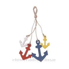 Ristra de anclas marineras Christmas Ornaments, Holiday Decor, Crafts, Home Decor, Sailor Style, Nautical Style, Anchors, Bold Colors, Objects