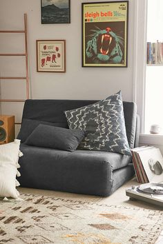 Folding Sleeper Loveseat - Urban Outfitters playroom seating/sleeping