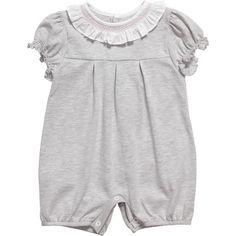 Malvi & Co Isi Baby Girls Grey Jersey Shortie with Smocked Collar | CHILDRENSALON