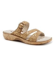 Look what I found on #zulily! Brown & Gold Bal Harbour Leather Slide by SoftWalk #zulilyfinds