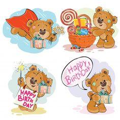 Conjunto de ilustraciones de imágenes prediseñadas vectoriales de oso de peluche marrón le desea un feliz cumpleaños. Vector Gratis