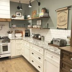 ✔ 86 pretty farmhouse kitchen makeover design ideas on a budget 65 – diy kitchen decor on a budget Farmhouse Kitchen Cabinets, Painting Kitchen Cabinets, Kitchen Redo, Home Decor Kitchen, Rustic Kitchen, New Kitchen, Home Kitchens, Green Kitchen Walls, Kitchen Wall Colors