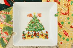 Vintage 60s Swedish Christmas Ashtray Plate by SycamoreVintage