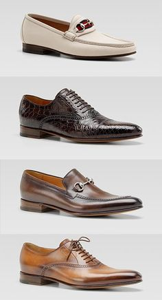 Men's Gucci shoes. White moccasins, brown crocodile lace-ups, brown moccasins, and tan lace-ups.