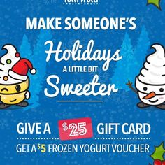 Treat yoself when you treat someone else! Buy a $25 gift card at 17th Ave this holiday season and get a $5 voucher for frozen yogurt! Perfect for stocking stuffers! #froyolove #meetmeon17th #giftideas #tuttifruttiyyc
