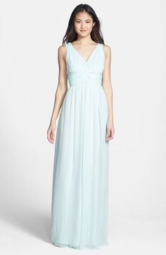 Donna Morgan 'Julie' Twist-Waist Silk Chiffon Gown (Regular & Plus) | Nordstrom - Color: Beach Glass