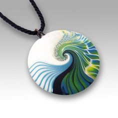 Teal Nami Pendant by Laura Timmins. Made from polymer clay.