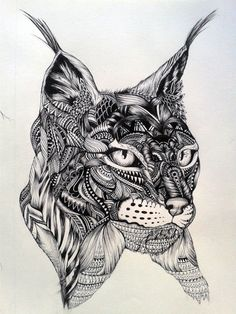 Image from http://www.tattoostime.com/images/340/traditional-black-ink-lynx-head-tattoo-design.jpg.