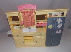 Mattel Barbie Doll Kitchen Sink Refrigerator Cupboards Food Furniture 2002