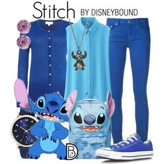 Stitch by leslieakay on Polyvore featuring Linea, Uniqlo, Versace, Converse, Disney, Marc Jacobs, Glitzy Rocks, disney, disneybound and disneycharacter