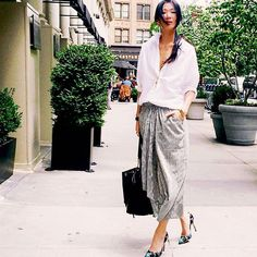 31 Flawless Outfits To Copy This July #refinery29  http://www.refinery29.com/july-outfit-of-the-day-ideas#slide-27  Conquering business-casual can be tricky as the temperatures (and humidity) begin to climb. The key to looking good in the office is to keep silhouettes loose and fabrics light. Pair an oversized linen button-up with a thin wrap skirt and printed heels, and you're immediately ready to go from day to night.