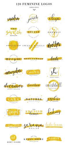 120 Feminine Branding Logos by Davide Bassu on @creativemarket