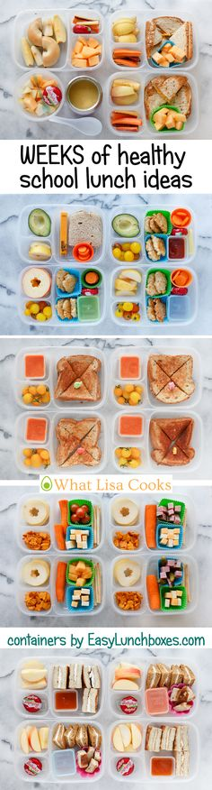 School lunch ideas. Week by week. From a mom of 4. Packed in EasyLunchboxes
