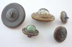 Antique Metal and Glass Buttons - Paperweight Centers £19.00