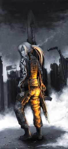 Anime picture 				749x1624 with  		fallout 		hetza (hellshock) 		long hair 		single 		tall image 		blonde hair 		ponytail 		black eyes 		looking back 		tattoo 		hair over one eye 		smoke 		smoking 		girl 		uniform 		gloves 		weapon 		boots 		gun 		fingerless gloves