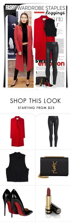 """""""Wardrobe Staples: Leggings"""" by grachy ❤ liked on Polyvore featuring Lanvin, The Row, Aéropostale, Yves Saint Laurent, Christian Louboutin, Gucci, Leggings, polyvoreeditorial and WardrobeStaples"""