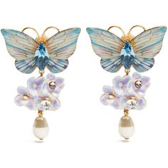 Dolce & Gabbana Hydrangea and butterfly clip-on drop earrings (2.180 RON) ❤ liked on Polyvore featuring butterfly earrings, dolce gabbana jewelry, drop earrings, monarch butterfly jewelry and monarch butterfly earrings