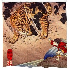 Utagawa Kuniyoshi was one of the last great masters of the Japanese ukiyo-e style of woodblock prints and painting. He was a member of the Utagawa school. This shower curtain features a Ukiyo-e print