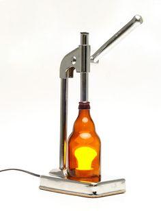 Decorative Desk Lamp with Upcycled Beer Bottle and Orange Juicer - $200.00