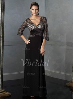Mother of the Bride Dresses - $166.39 - A-Line/Princess V-neck Floor-Length Chiffon Charmeuse Mother of the Bride Dress With Lace (00805006764)
