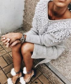 Pearl embellished sweater dress.