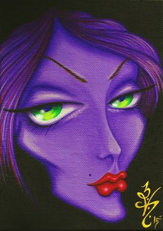 """""""Face In The Crowd #1"""" by Natalie VonRaven Acrylic on canvas 5x7  #Art #Acrylic #Painting #Lowbrow"""