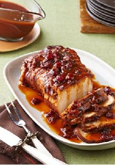 Slow-Cooker Cranberry Orange Pork Roast – Cranberry sauce and the juice and zest of an orange work their tasty magic in the slow cooker so you can come home to sweet and tart roast pork.