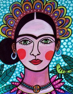 PRINT Frida Kahlo Mexican Folk Art Poster of Painting