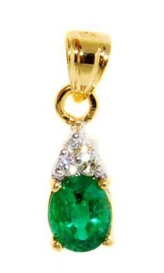 Emerald Solitaire Pendant 18K Yellow Gold Genuine Diamond [P0037] BKGjewelry http://www.amazon.com/dp/B00CJUWT5I/ref=cm_sw_r_pi_dp_bjalwb0588VC0