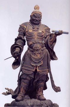 Japanese, Bishamonten is the god of warriors (but not of war) and prayed to for… Japanese Mythology, Arte Tribal, Japanese Warrior, Art Asiatique, Buddhist Art, Japan Art, Statue, Gods And Goddesses, Japanese Culture