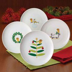 Rachael Ray - 4-Piece Dessert Plate Set in Holiday Hoot