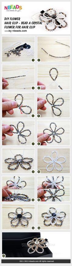 FROM nbeads.com: DIY flower hair clip - bead a crystal flower for hair clip