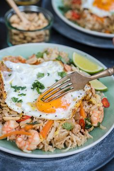 Indonesian Fried Rice – Nasi Goreng with Prawns. This is super quick and very tasty – perfect for when you need a delicious meal in a real hurry!