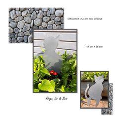 Décoration de jardin silhouette chat coquin en zinc à planter ...
