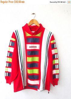 ADIDAS Vintage 80s Trefoil Sportswear Color Block Neon Tommy Hip Hop Streetwear Pullover Crewneck Sweater Sweatshirt Size M  Tag reads:  None
