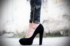 #fashion #shoes decollete nere tacco grosso