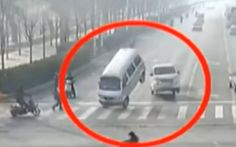 This weird CCTV footage of cars jumping into the air in China has been shared   thousands of times online appears to have a very simple explanation