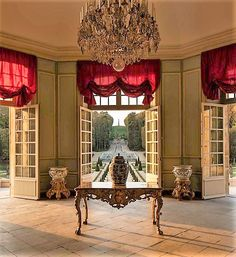 Chateau de Villette Red Blinds, Blinds For Windows, Curtains With Blinds, French Architecture, Interior Architecture, Red Interiors, French Interiors, Chateau Hotel, Interior Styling
