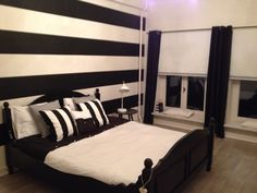 Black and White bedroom.  Painting the Past