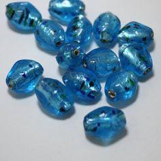12 Vintage Glass Lampwork beads in Aqua Blue  by ThisPurplePoppy