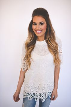 Dottie Couture Boutique - Ivory Crochet Top , $39.00 (http://www.dottiecouture.com/ivory-crochet-top/)