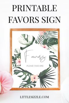 Favors Sign printable for baby shower or bridal shower tropical theme by LittleSizzle. Decorating your tropical party is almost as fun as the party itself! With this gorgeous tropical favors sign with blush flowers and greenery you will add a really great touch to your party. The printable Favors Please Take One is an instant download, so simply download and print the sign right from your computer in a matter of minutes. #favorssign #favorssignbabyshower #favorssignbridalshower… Hawaiian Baby Showers, Tropical Bridal Showers, Summer Bridal Showers, Unique Bridal Shower, Tropical Party Decorations, Diy Birthday Decorations, Bridal Shower Decorations, Printable Bridal Shower Games, Bridal Shower Invitations