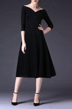 Cys Black A Line Waisted Midi Dress   Midi Dresses at DEZZAL