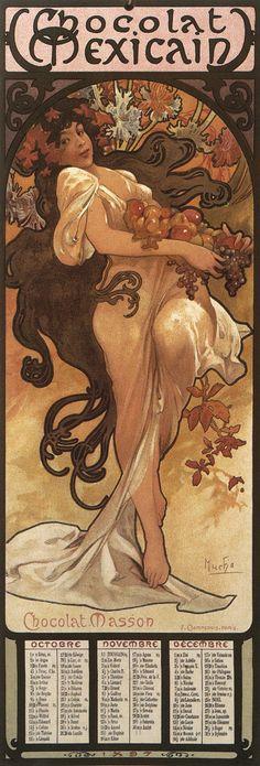 1896 'Chocolat Masson' calendar October - December © Alphonse Mucha Estate-Artists Rights Society (ARS), New York-ADAGP, Paris