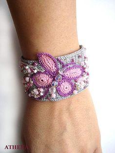 Crochet bracelet - Butterfly temptation...no pattern...pretty inspiration!!!