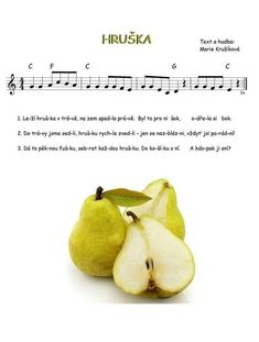 Music For Kids, Kids Songs, Color Flashcards, Music Notes, Pear, Kindergarten, Fruit, The Originals, School