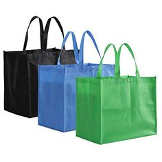 Price: (as of – Details) Tosnail Large Reusable Handle Grocery Tote Bag Shopping Bags – 12 Pack in 3 Colors Made of recycled non woven polypropelyne; Each measures height x length x [. Reusable Shopping Bags, Reusable Bags, Trolley Bags, Produce Bags, Wholesale Bags, Green Bag, Blue Green, Handle, Black