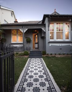 Olde English Tiles' gorgeous tessellated tiled floors can revitalise and transform a tired verandah into a spectacular, welcoming entrance to your home. Brick Facade, Facade House, House Exteriors, Victorian Tiles, Victorian Terrace, Linden Homes, Porch Tile, Weatherboard House, Edwardian House