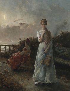 Un soir à la mer  Alfred Stevens (Belgian, 1823–1906) Alfred Stevens, Moonlight Painting, Google Search, Belgium, Artists, Pretty, Vintage, The Sea, Vintage Comics